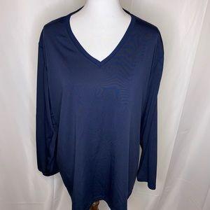 Carhartt Women's Navy Blue Long Sleeve V-Neck